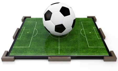 greenfield: ball on the football field in the design of information related to sports. 3d illustration