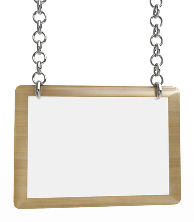 empty sign board hanging on brass chains in the design of the information associated with the word. 3d illustration Stock Photo