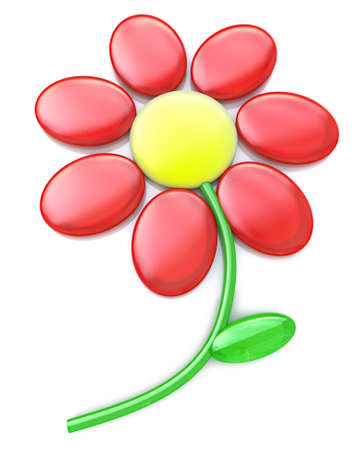 3d red flower isolated on white in the design of information related to plants. 3d illustration
