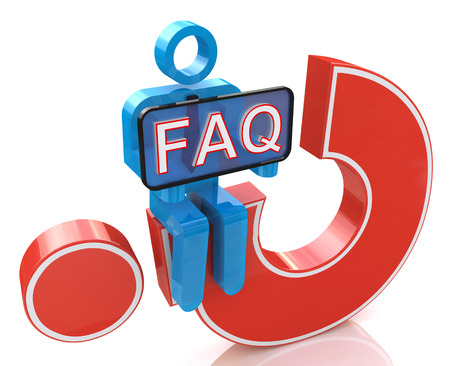 frequently asked question: 3d man sitting on red question mark holds a placard with the word faq in the design of the information related to the Frequently Asked Question. 3d illustration