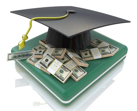 examiert: graduation cap on US money - education costs in the design of the information related to the education. 3d illustration Stock Photo