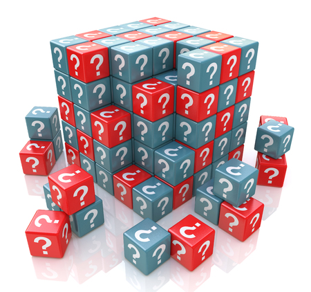 FAQ cube with a question marks in the design of information related to solving the issues. 3d illustration