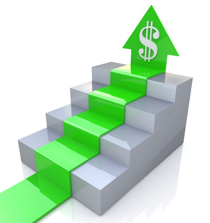 Dollar Arrow upstairs in the design of information related to business and the economy. 3d illustration