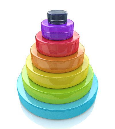 top seven: 3d Layered pyramid in the design of the information related to the abstraction. 3d illustration