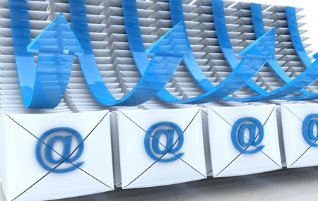 E-mail envelopes and arrows background in the design of the information related to the internet. 3d illustration Stock Photo