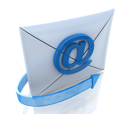 rollover: E-mail Envelope and blue arrow in the design of the information related to the internet. 3d illustration