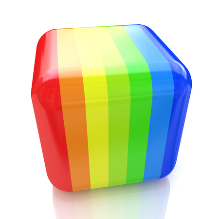 specular: Multicolored cube with stripes in the design of the information associated with the color and abstraction. 3d illustration