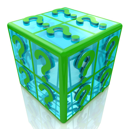 transparence: FAQ cube with a question marks. 3d illustration Stock Photo