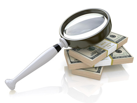 Magnifying Glass in the design of information related to business and the economy. 3d illustration