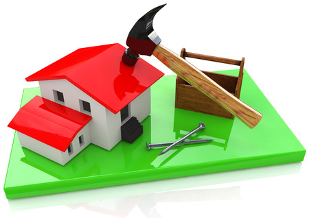 building a house for information related to the design of the construction site and the business. 3d illustration