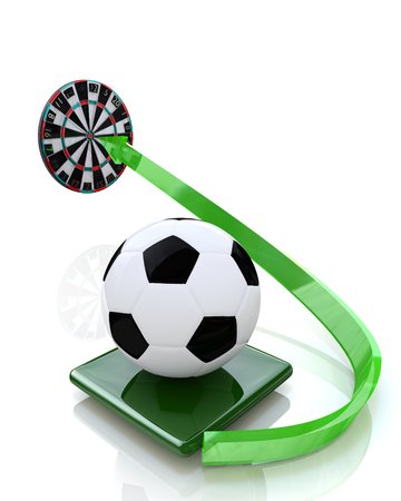 soccer ball sent to the target in the design of information related to sport and football. 3d illustration
