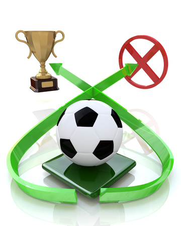football ball and two goals in the design of information related to sports. 3d illustration