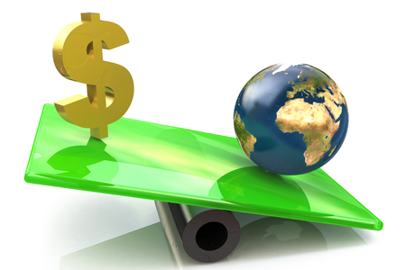 Dollar sign and globe on a scales in the design of the information associated with the global economy. 3d illustration