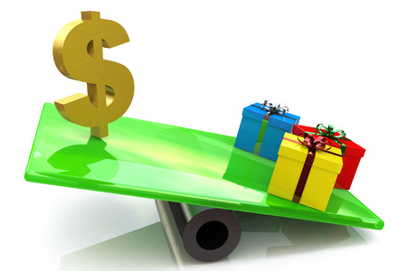 outweighs: Christmas gifts marketing concept in the design of the information associated with money and gifts. 3d illustration