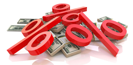 percentages: heap of money and percentages in the design of information related to finance and business. 3d illustration Stock Photo