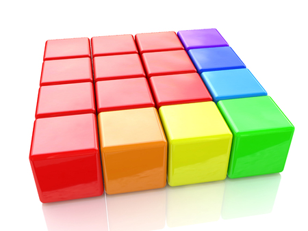 colorful puzzle cubes on an isolated white background in the design of information associated with abstraction. 3d illustration Stock Photo