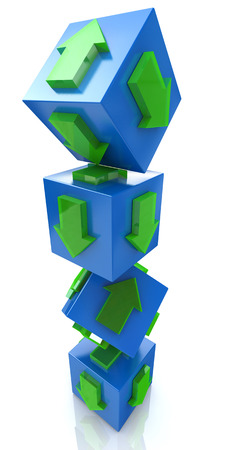 3D blue cube with an arrow pointing the direction. Concept illustration in the design of the information associated with the abstract. 3d illustration Stock Photo