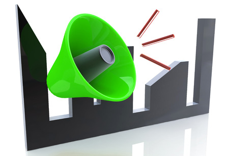 megaphone concept in the design of the information related to the communication. 3d illustration Stock Photo
