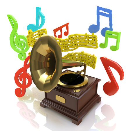Old gramophone and musical notes in the design of information related to music. 3d illustration Stock Photo