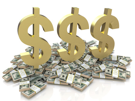 Dollar Sign and stack of money in the design of the information related to finances. 3d illustration