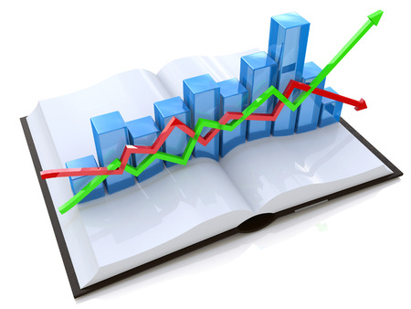 chart and open book in the design of the information related to the economy and education. 3d illustration