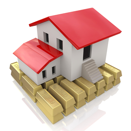 gold house: House and gold bars, Mortgage Concept in the design of the information related to the economy and Real Estate. 3d illustration