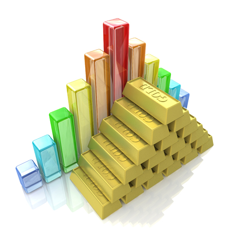 business chart and bar chart from gold ingots in the design of the information related to the economy. 3d illustration