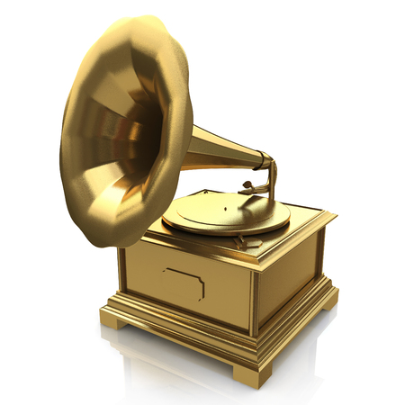 Uitstekende gouden grammofoon in het ontwerp van de informatie met betrekking tot de retro muziek. 3d illustratie