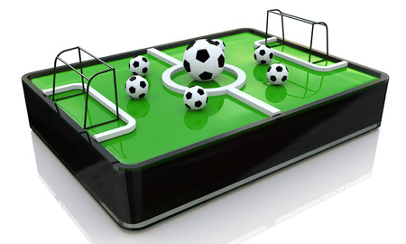 greenfield: 3d ball on the football field in the design of information related to sports. 3d illustration Stock Photo