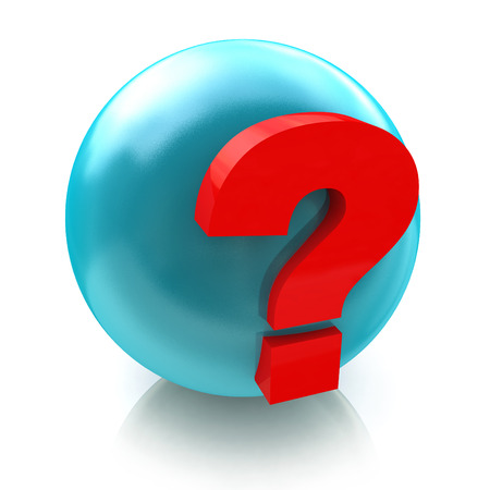 sphere and question mark faq in the design of the information related to the Internet and frequently asked questions. 3d illustration Stock Photo