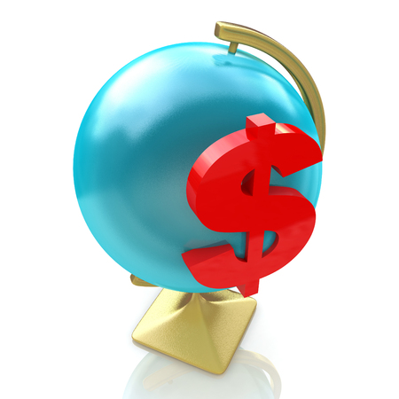 Globe and dollar sign in the design of information related to finance and business. 3d illustration