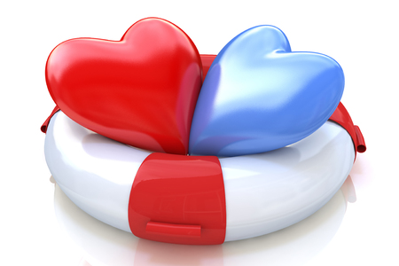 truelove: Concept of love relationships: two hearts and life buoy on white background in the design of the information associated with love