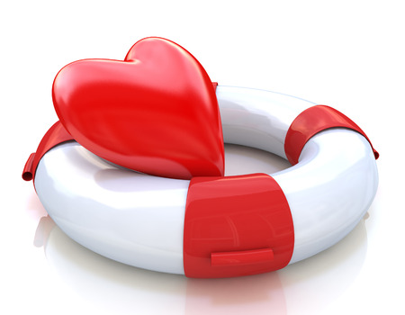 Concept of love relationships: heart and life buoy on white background in the design of the information associated with love