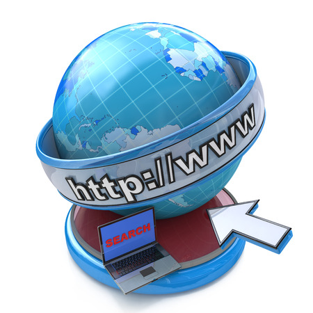 Globe internet searching concept, web page or internet browser. http:www. written in search bar in the design of the information related to the Internet