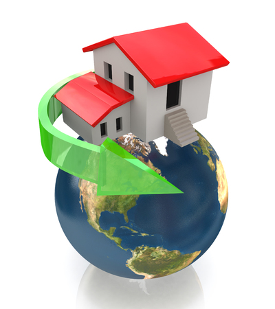 sold small: Private house on small planet, Real estate concept in the design of the information related to the world and Real Estate Stock Photo