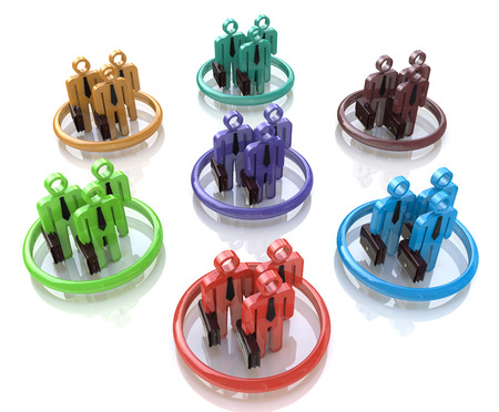 Different teams symbol 3D in the design of information related to teamwork Stock Photo