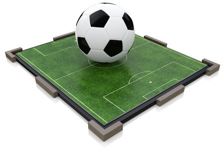Soccer ball and football field in the design of information related to sports
