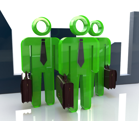 unrecognizable person: 3d people - men, person with briefcase and tie. Businessmen. Teamwork in the design of information related to business and people