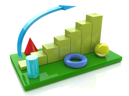 Business chart and geometric objects in the design of information related to business