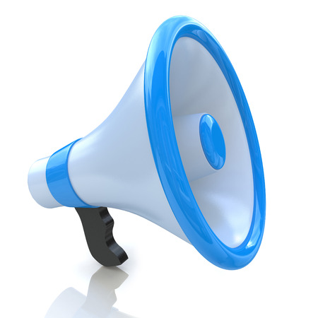 Blue megaphone or loudspeaker in the design of information related to communication