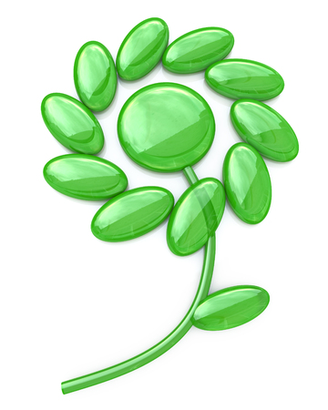 reflection of life: abstract green flower - 3d illustration in the design of information related to plants Stock Photo