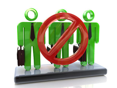 dismissal: 3D Group of people - concept of dismissal of workers in the design of information related to the dismissal of staff Stock Photo