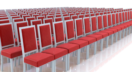 presentaion: Red chairs in a row in the design of information related to meetings Stock Photo