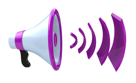 relating: Voice broadcasting. Megaphone or loudspeaker when you make information relating to voice and messages