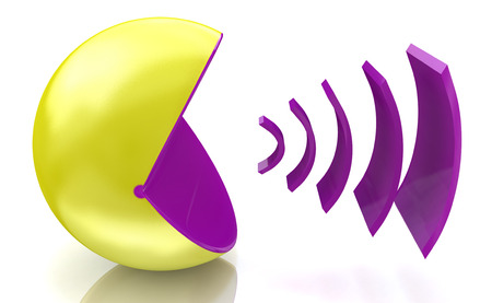 Voice broadcasting when you make information relating to voice and messages Stock Photo