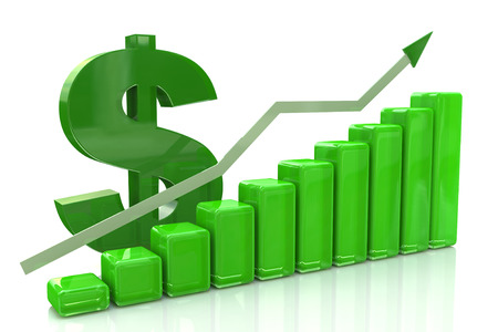 3D finance graph - rise of the dollar in the design of information related to business and economy
