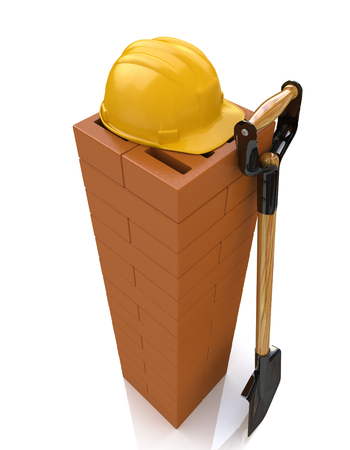 3D brickwork, yellow safety helmet and shovel. Construction concept. Workplace in the design of the information related to the construction