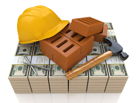 Investments in the construction industry - safety helmet, tools and money in the design of information related to business and construction