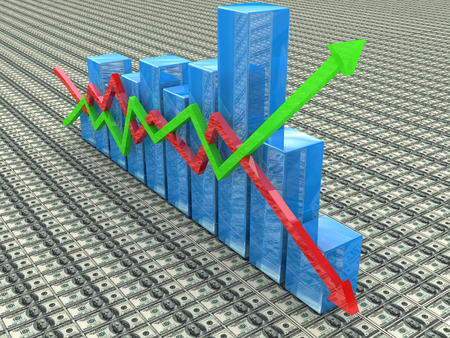 Blue bar chart and arrows depicting growth or fall of profits in the design of information related to business and economy