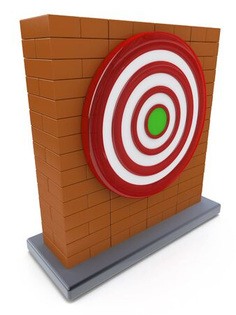 Brick wall and Red darts target aim in the design of information related to the objectives the business Stock Photo